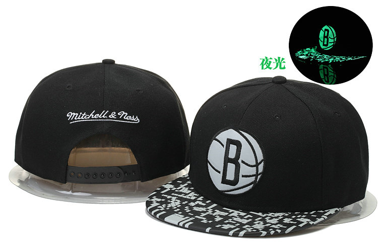 Brooklyn Nets Black Snapback Noctilucence Hat GS 0620